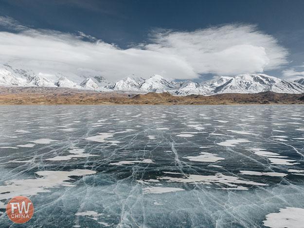 Karakul Lake frozen in winter