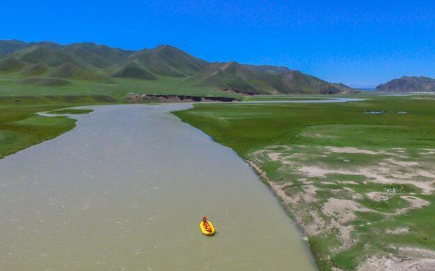 Rafting down a river in Xinjiang, China