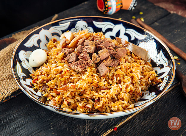 Plate of Uyghur pilaf (polo)