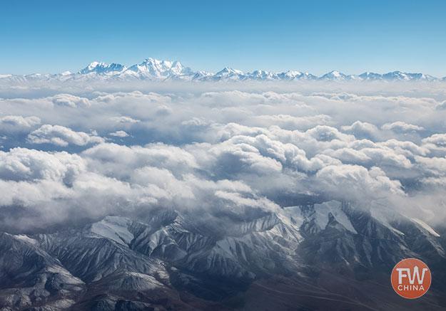 Tianshan mountain range from above
