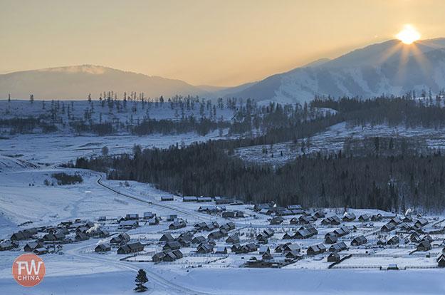 Xinjiang snow over Hemu village