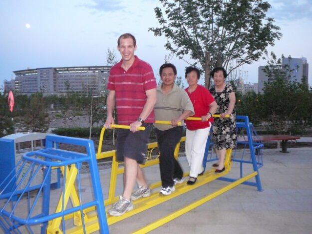 Exercise equipment at a Chinese park in Xinjiang